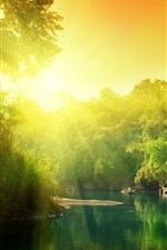 Vorschau des iPhone Hintergrundbilder Bäume, Fluss, Sonnenaufgang, sonniger Tag, Morgen