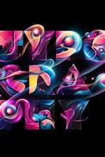 Preview iPhone wallpaper Typography, colorful, abstract design