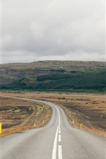 Uplands, road, cloudy sky