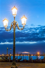 Preview iPhone wallpaper Venice, night, lights, river, clouds, Italy