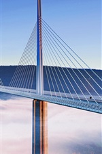 Preview iPhone wallpaper Viaduct, bridge, France, mist, mountain, city