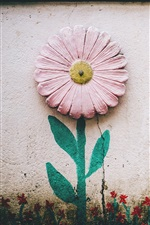 Preview iPhone wallpaper Wall, flower, painting