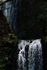 Preview iPhone wallpaper Waterfall, bridge, cliff