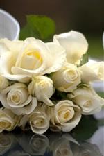 Wedding flowers, white rose, ribbon