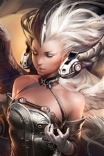 Preview iPhone wallpaper White hair fantasy girl, wings