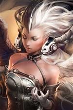 Menina de fantasia de cabelo branco, asas