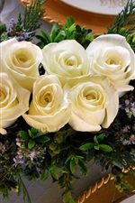 Preview iPhone wallpaper White roses, plate