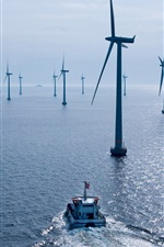 Preview iPhone wallpaper Wind power station, sea, boat