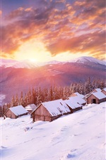 Preview iPhone wallpaper Winter, snow, slope, houses, mountains, clouds, sunset