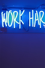 Preview iPhone wallpaper Work Harder, neon light board