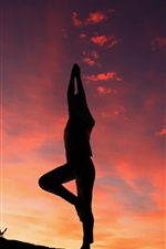Preview iPhone wallpaper Yoga silhouette, sunset