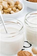 Preview iPhone wallpaper Yogurt, cookies, cashews, breakfast
