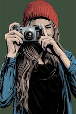 Preview iPhone wallpaper Young girl use camera, art drawing