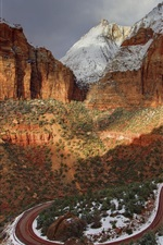 Zion National Park, USA, mountains, road, snow