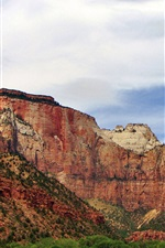 Preview iPhone wallpaper Zion National Park, rock mountains, sky, clouds, USA