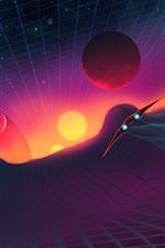 iPhone обои 3D-пространственные кривые, планеты, космический корабль