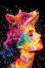 Preview iPhone wallpaper Abstract design, fox, girl face, painting, colorful