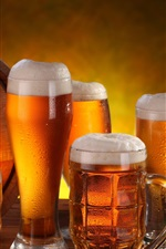 Preview iPhone wallpaper Alcoholic beverages, beer, foam, mugs, barrel, wheat