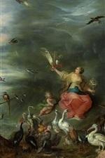 Preview iPhone wallpaper Allegory of Air, oil painting, Jan Brueghel