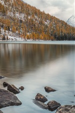 Preview iPhone wallpaper Altai Mountains, ridge, Multinskoe Lake, trees, stones, snow