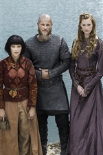 Preview iPhone wallpaper Alyssa Sutherland, Travis Fimmel, Dianne Doan, The Vikings