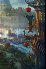 Preview iPhone wallpaper Ancient Chinese city, art painting