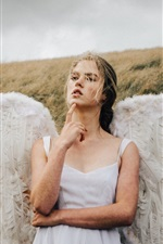 Preview iPhone wallpaper Angel girl, wings, grass, wind