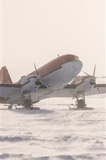 Preview iPhone wallpaper Antarctica, plane, snow, ice