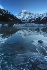 Preview iPhone wallpaper Aoraki National Park, Hooker Lake, mountains, snow, New Zealand