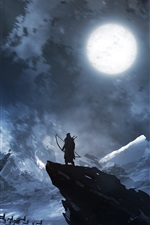 Preview iPhone wallpaper Archer, deer, moon, night, mountains, art painting