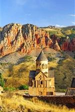 Armenia, mountains, buildings, grass, sky