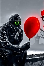 Preview iPhone wallpaper Art drawing, mask, ship, red balloon