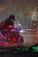 Preview iPhone wallpaper Art drawing, motorcycle, rainy, city, night