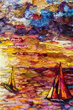 Preview iPhone wallpaper Art painting, sea, sailboats, colorful