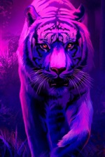 Preview iPhone wallpaper Art painting, white tiger walk to you