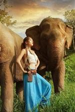 Preview iPhone wallpaper Asian girl, elephants, grass, sunshine