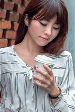 Preview iPhone wallpaper Asian girl, wall, coffee