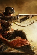 Preview iPhone wallpaper Assassin's Creed III: Liberation, girl use rifle