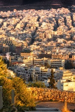 Preview iPhone wallpaper Athens, Greece, city, houses, top view, sun