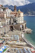 Preview iPhone wallpaper Atrani, Salerno, Italy, Europe travel, cityscape, city, coast