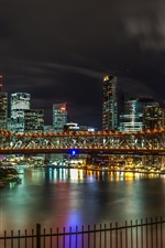 Preview iPhone wallpaper Australia, Brisbane, bridge, river, night, lights, city