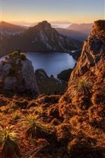 Preview iPhone wallpaper Australia, Lake Oberon, Tasmania island, mountains, dawn