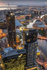 Preview iPhone wallpaper Australia, Melbourne, Eureka Tower, skyscrapers, lights, dusk
