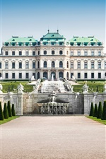 Preview iPhone wallpaper Austria, Vienna, Palace, fountains, sculpture, lawn