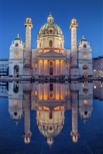 Preview iPhone wallpaper Austria, Vienna, church, Karlsplatz, pond, night, lights