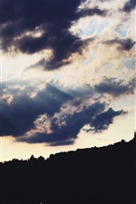Preview iPhone wallpaper Austria, castle, clouds, sun rays, backlight