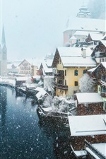 Preview iPhone wallpaper Austria, village, snowy
