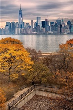 Preview iPhone wallpaper Autumn, Manhattan, New York, skyscrapers, river, park, trees