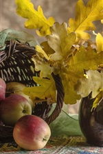 Preview iPhone wallpaper Autumn, apples, basket, yellow leaves