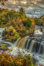 Autumn, clouds, mountains, trees, stream, waterfalls